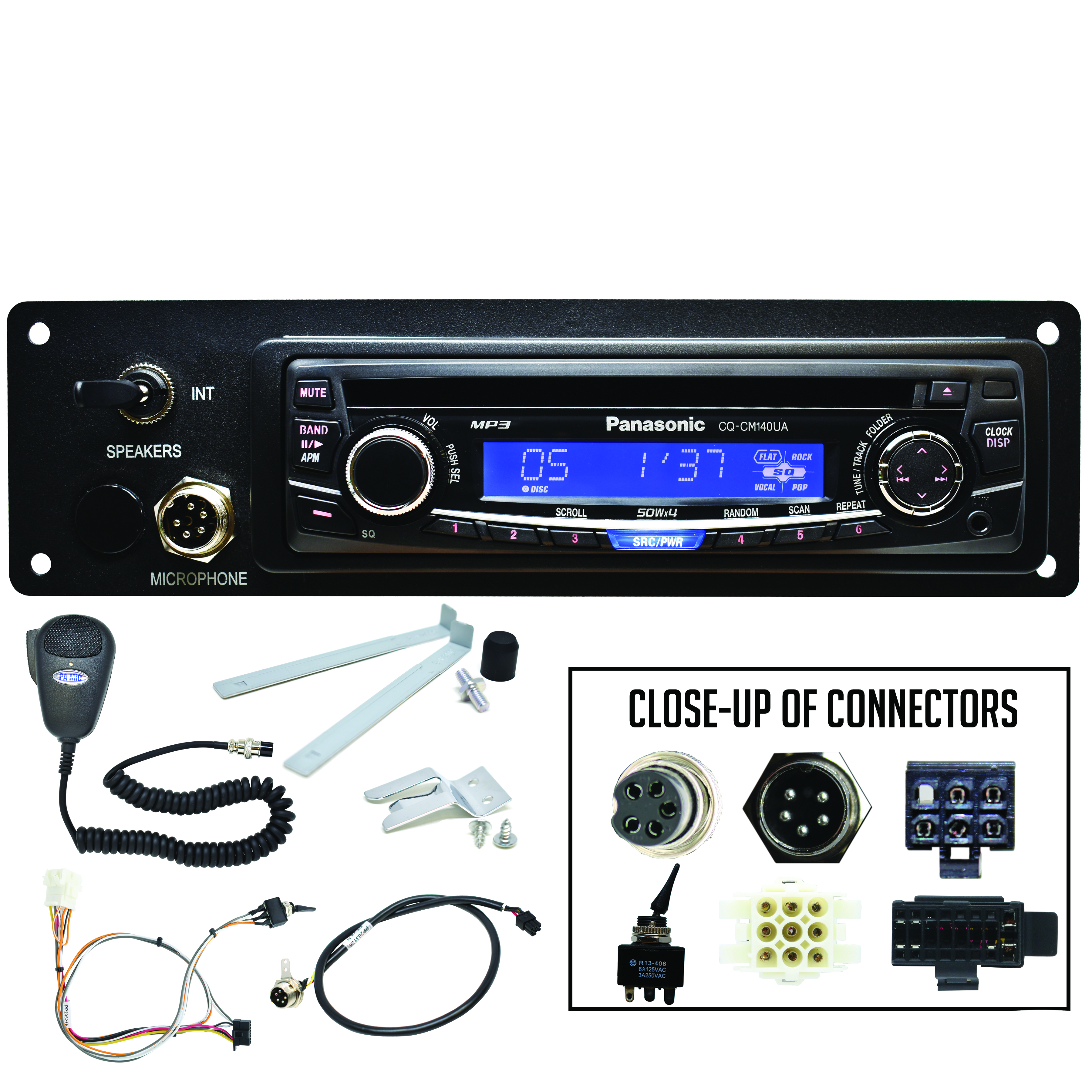 PANASONIC AM/FM/MP3/AUX Stereo with PA Adapter Panel, PA Microphone