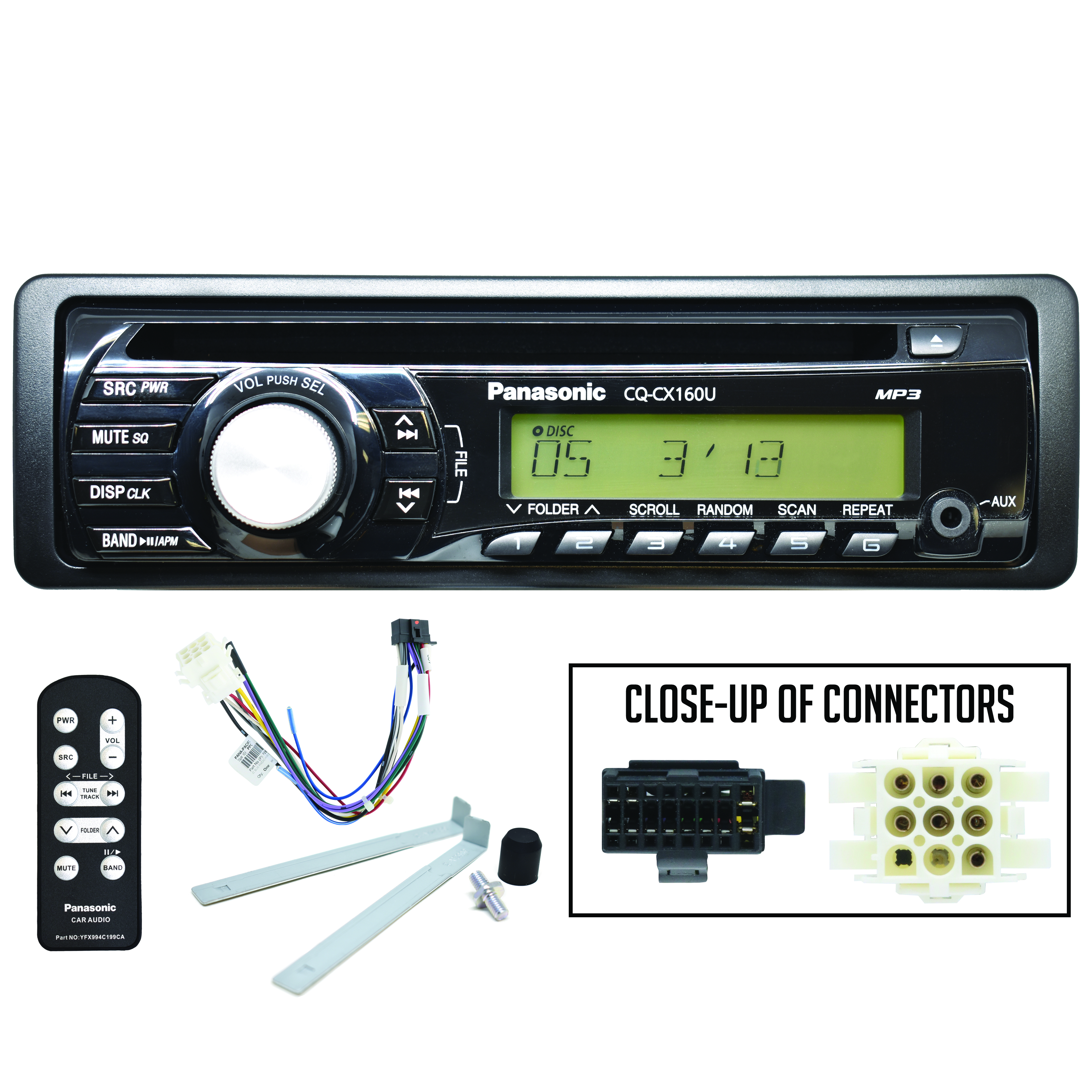 PANASONIC AM/FM/MP3/CD Player with Plug-n-Play Harness* – IC BUS