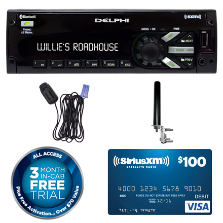 delphi heavy duty am fm mp3 wma wb with integrated siriusxm 174 satellite radio and integrated